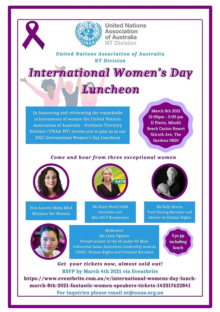 International Women's Day Lunch - March 8th 2021.  Fantastic Women Speakers image