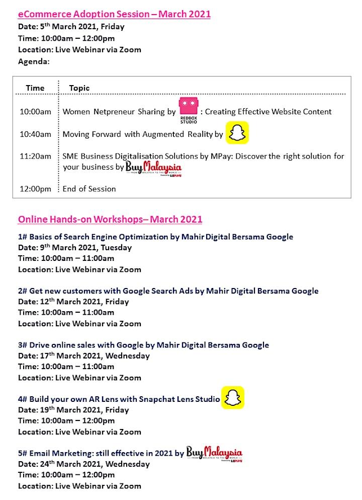 [Webinar Series] eCommerce Adoption Sessions & Workshop - MAR 2021 image