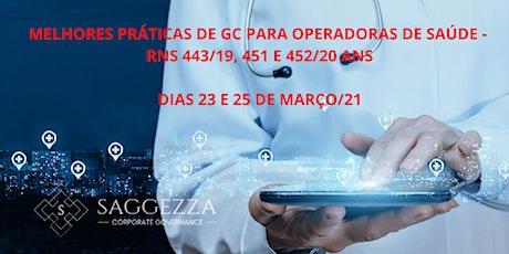 Governança C. Operadoras de Saúde - Foco nas RNs 443/19 , 451 e 452/20 ANS ingressos