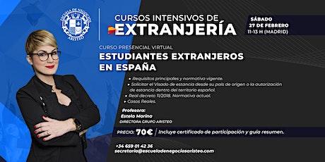 Curso intensivo de Extranjería: Estudiantes Extranjeros en España entradas
