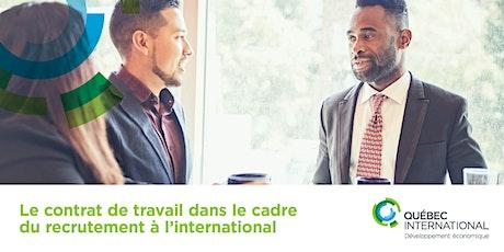Le contrat de travail dans le cadre du recrutement à l'international billets
