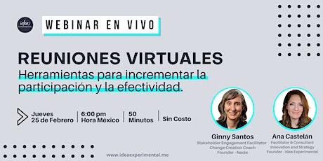 Reuniones Virtuales | Herramientas para la participación y efectividad tickets
