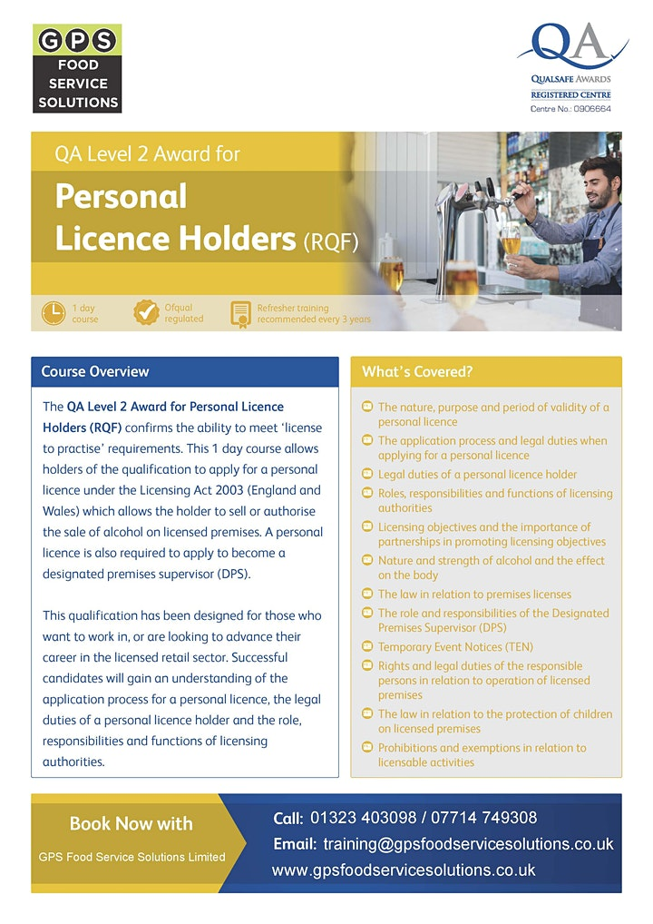 Level 2 Personal Licence Holder (APLH) Courses - Eastbourne image