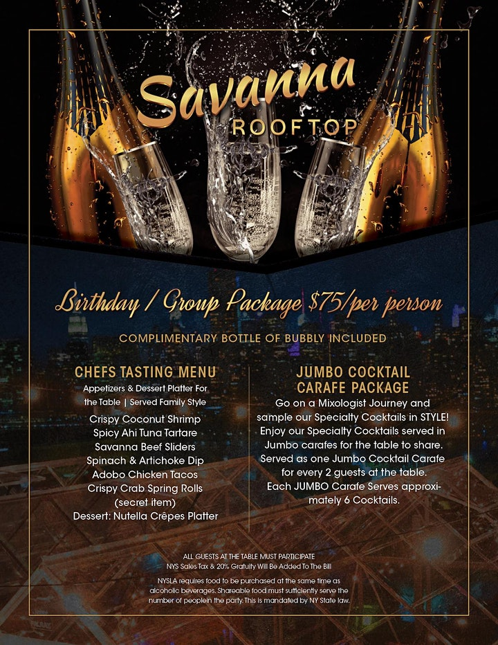 "ALL SATURDAYS: BRUNCH & VIP NIGHTS! HEATED ""SKY SUITES""  @ SAVANNA image"