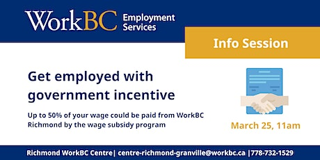 Mar25 WorkBC Wage Subsidy Program: Get Employed with Government's Incentive tickets