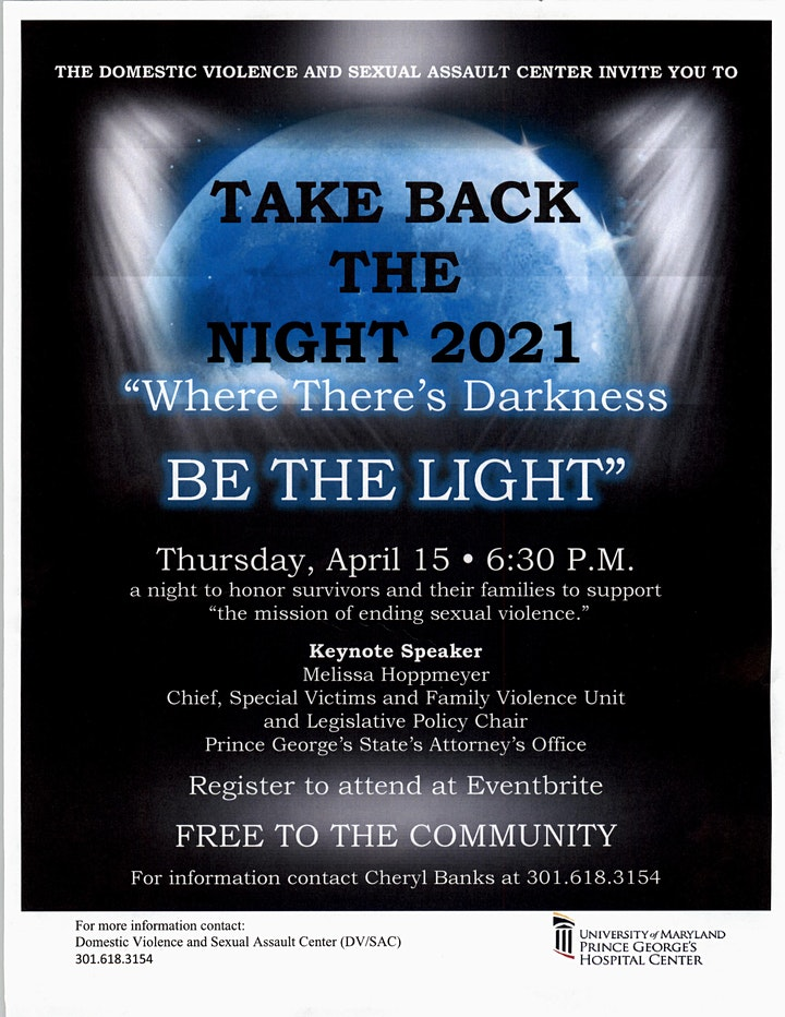 "A Virtual Take Back The Night - ""Where There's Darkness Be The Light"" image"