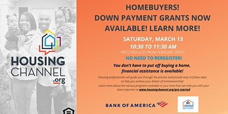Down Payment Grants for Homebuyers class - 03/13/2021 tickets