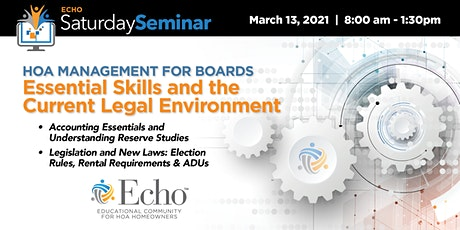 HOA Boards: Essential Skills & the Current Legal Environment billets