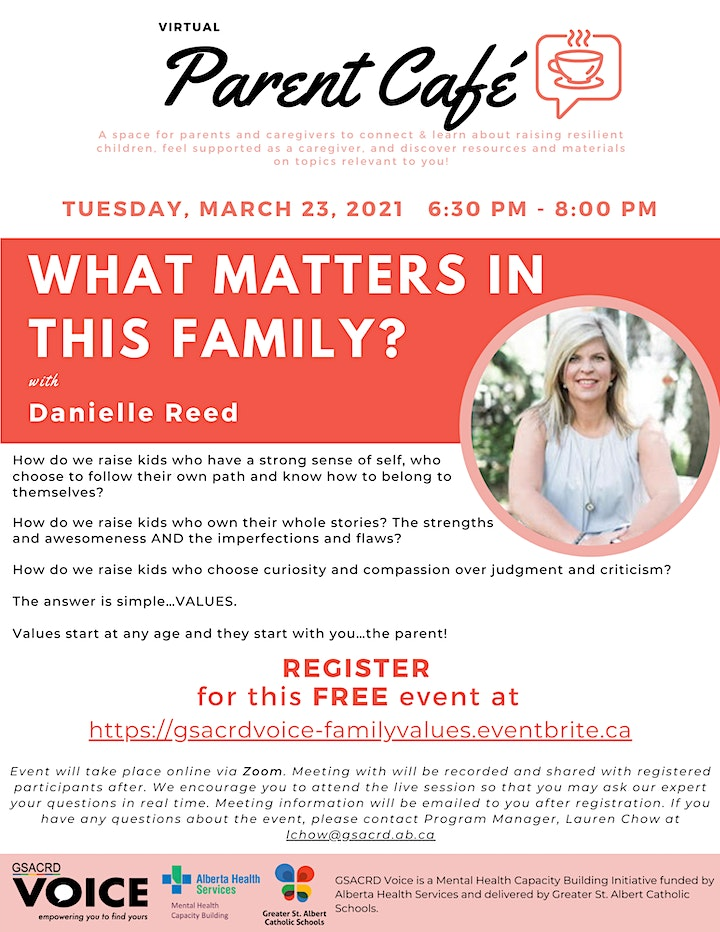 GSACRD Voice Parent Cafe - What Matters In This Family with Danielle Reed image