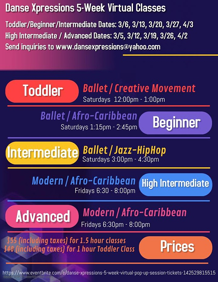 Danse Xpressions 5 week Virtual  Pop-up Session! image