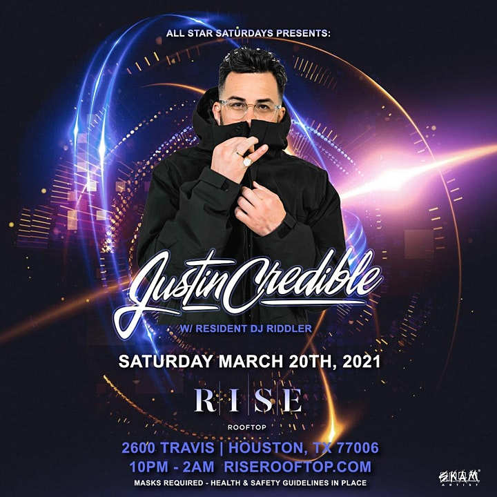 All Star Saturdays w/ Justin Credible @ RISE Rooftop image