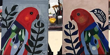 Acrylic Painting - COLOURFUL ABSTRACT BIRDS (Paint and Sip) tickets