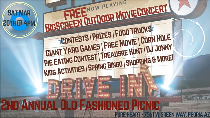 Old Fashioned Picnic w/FREE Outdoor MOVIE, Games, Prizes  and MORE ~ 3/20 image