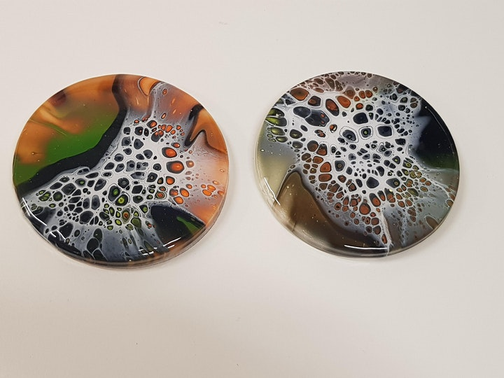 Fluid Art Experience - BLOOM SPINNING on Canvas OR Placemats and Coasters image