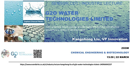 Industry Lecture - Kangsheng Liu of G2O Water Technologies tickets