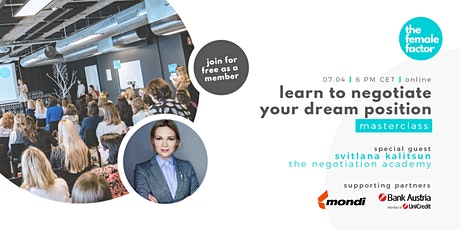 learn to negotiate your dream position | the female factor masterclass tickets