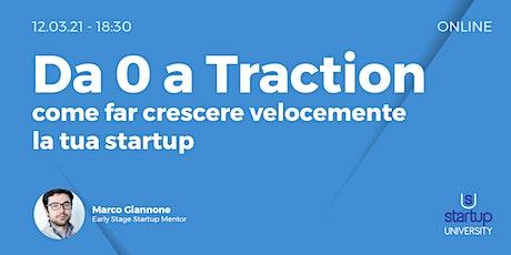 Da 0 a Traction: Come far crescere velocemente la tua startup biglietti