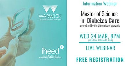 MSc Diabetes: University of Warwick - Info Webinar - MENA Mar 2021 tickets