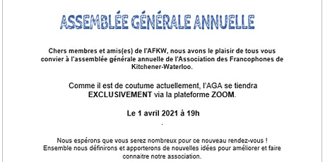 AGA Assemblée Générale Annuelle billets