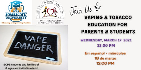Vaping and Tobacco Education for Parents and Students tickets