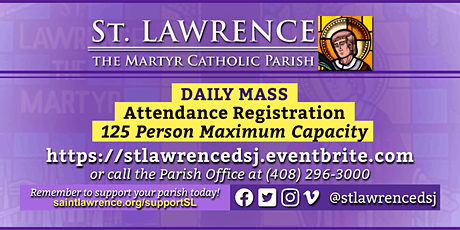 SATURDAY, March 13, 2021 @ 8:30 AM DAILY Mass Registration tickets