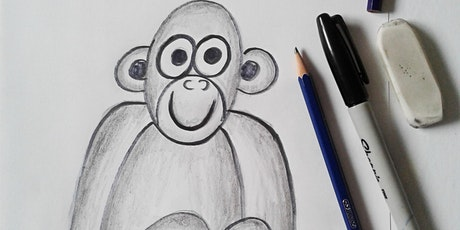 Online Monkey Drawing with a Black Pencil Art Class.  All ages are welcome. tickets