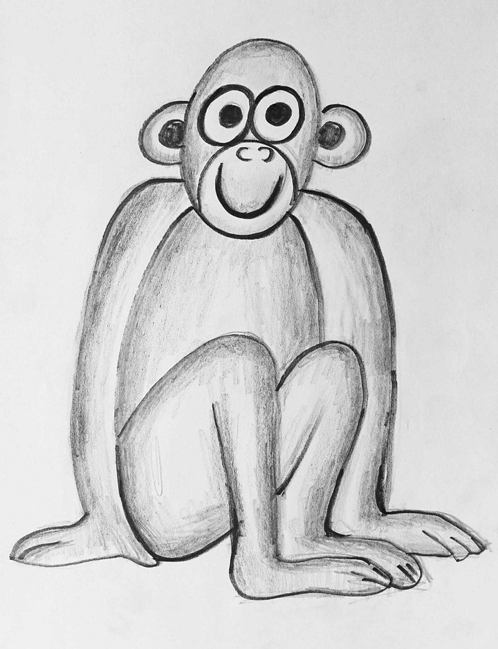 Online Monkey Drawing with a Black Pencil Art Class.  All ages are welcome. image