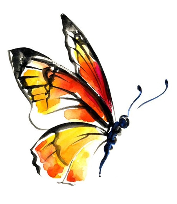 Online Butterfly Painting Art Class.  All ages are welcome. image
