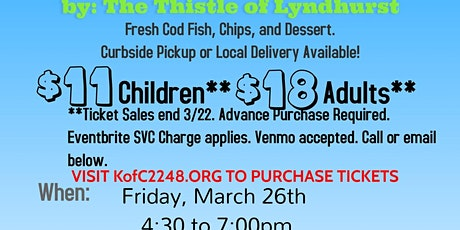 KofC 2248 Fish Fry - HF 2021 Dinner - Advance Purchase Required tickets