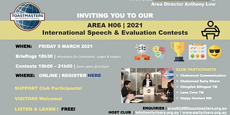 Toastmasters - 2021 Area 06 International Speech and Evaluation Contest tickets