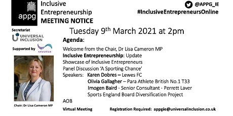 APPG Inclusive Entrepreneurship -  Open Meeting - 'A Sporting  Chance' tickets