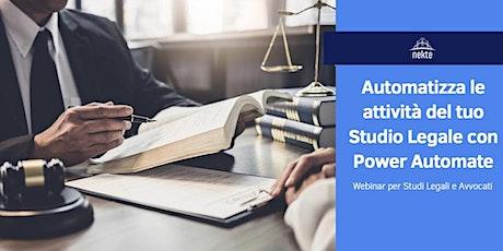 Automatizza le attività del tuo Studio Legale con Power Automate biglietti