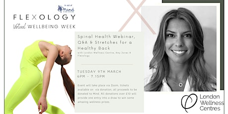 Spinal Health Webinar, Q&A & Stretches for a Healthy Back! In aid of Mind. tickets