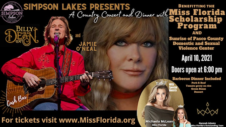 Billy Dean with Jamie O'Neal Dinner and Concert to benefit Miss Florida image