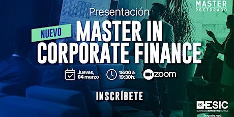 Presentación Nuevo Master in Corporate Finance entradas