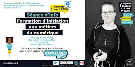 Hackeuses Club session d'info initiation aux métiers du numérique Charleroi billets