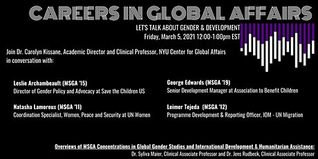 Careers in Global Affairs - Let's Talk about Gender and Development tickets
