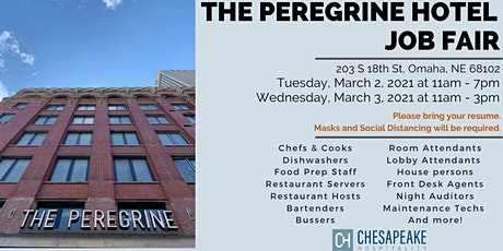 JOB FAIR: Hotel positions - March 2nd & 3rd - Peregrine Omaha  Hotel tickets