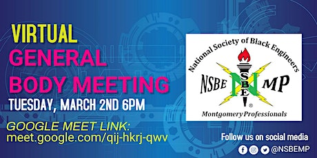 NSBE Montgomery Professionals Virtual Meeting (Tues, March 2nd, 6pm) tickets