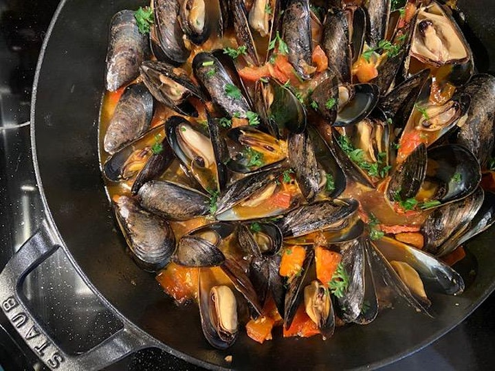 SPAIN: Spanish Mussels with Tomato, Chorizo and Saffron Broth image