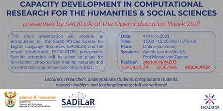 CAPACITY DEVELOPMENT IN COMPUTATIONAL RESEARCH FOR THE HUMANITIES & SOCIAL tickets