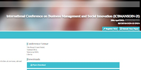 International Conference on Business Management and Social Innovation (ICBM tickets
