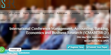 International Conference Management, Accounting, Banking, Economics and Bus tickets