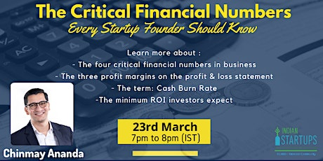 The Critical Financial Numbers Every Startup Founder Should Know tickets