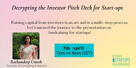 Decrypting the Investor Pitch Deck for Start-ups Tickets