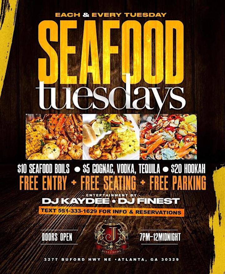 SEAFOOD TUESDAYS ATLANTA | FREE ADM + HOOKAH &  $10 SEAFOOD BOILS!! image