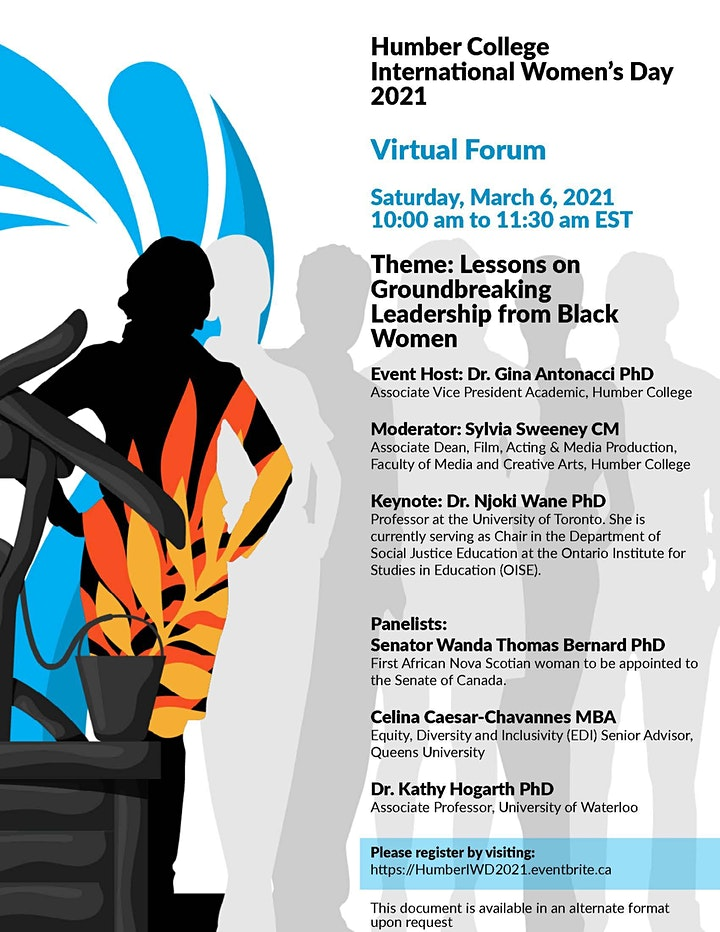 Humber College International Women's Day 2021 Virtual Forum image