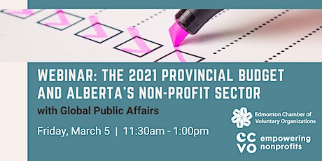 The 2021 Provincial Budget & Alberta's Non-Profit Sector tickets
