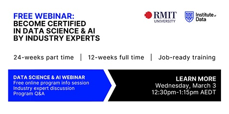 Webinar - Data Science & AI Program - Online Info Session: 12:30pm - Mar 3 tickets