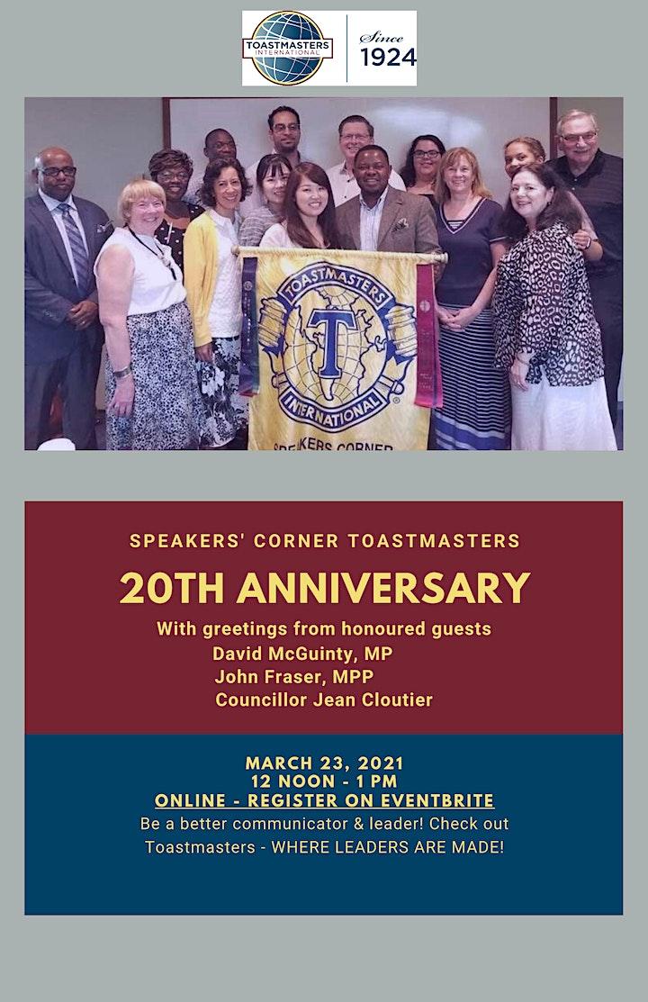 Speakers' Corner Toastmasters 20th Anniversary Celebration! image
